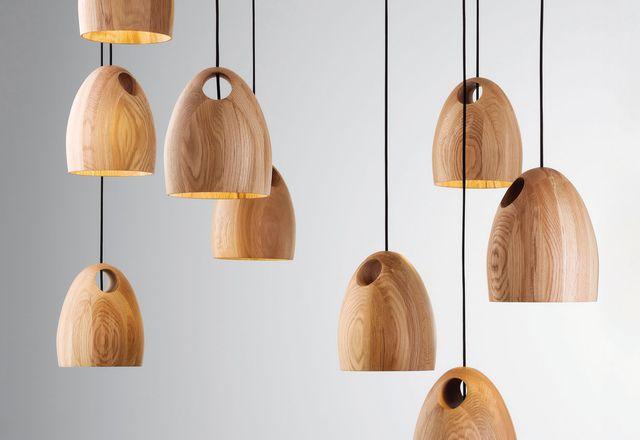 Oak pendant light by Ross Gardam.