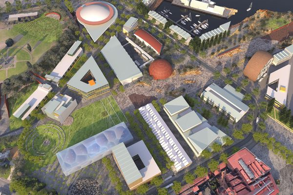 The scheme includes the Eden Project, a contemporary art space, a produce market, an Antarctic and science precinct, a hotel and commercial and residential uses.