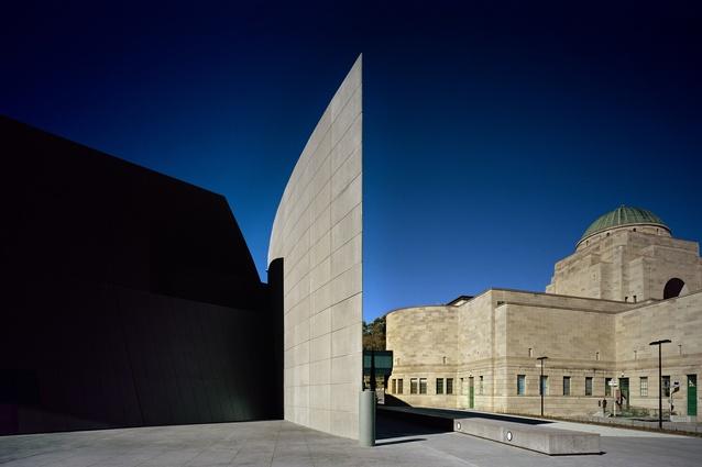 Anzac Hall by Denton Corker Marshall.