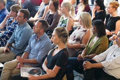 The audience at Artichoke Night School session seventeen, at Space Furniture's Melbourne showroom.