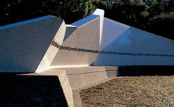The folded forms create an intimate sheltered space.