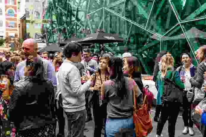 Conference delegates and speakers enjoyed a post-festival drink in the surrounds of Federation Square.