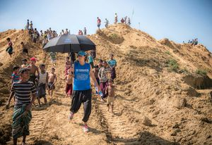 Phoebe Goodwin at the Balukhali refugee camp in Cox's Bazar, Bangladesh.