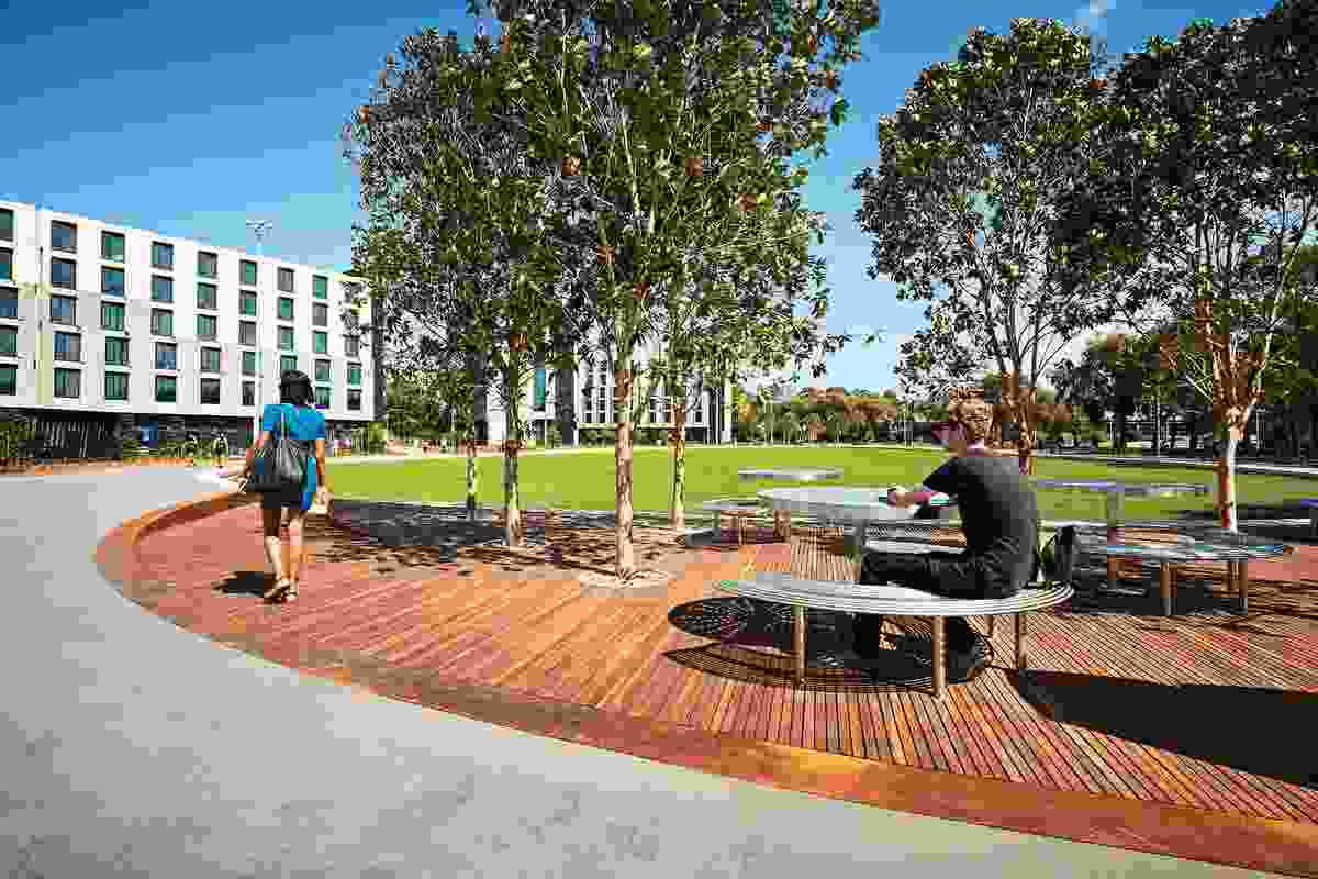 Designed by TCL, the Eastern Precinct Landscape at Monash University's Clayton campus provides flexible open space for on-campus activities.