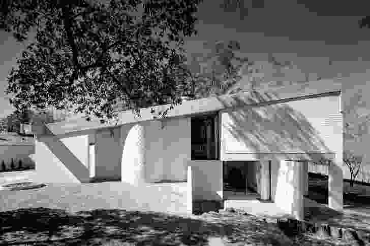 The white concrete block was prototyped exclusively for the house.