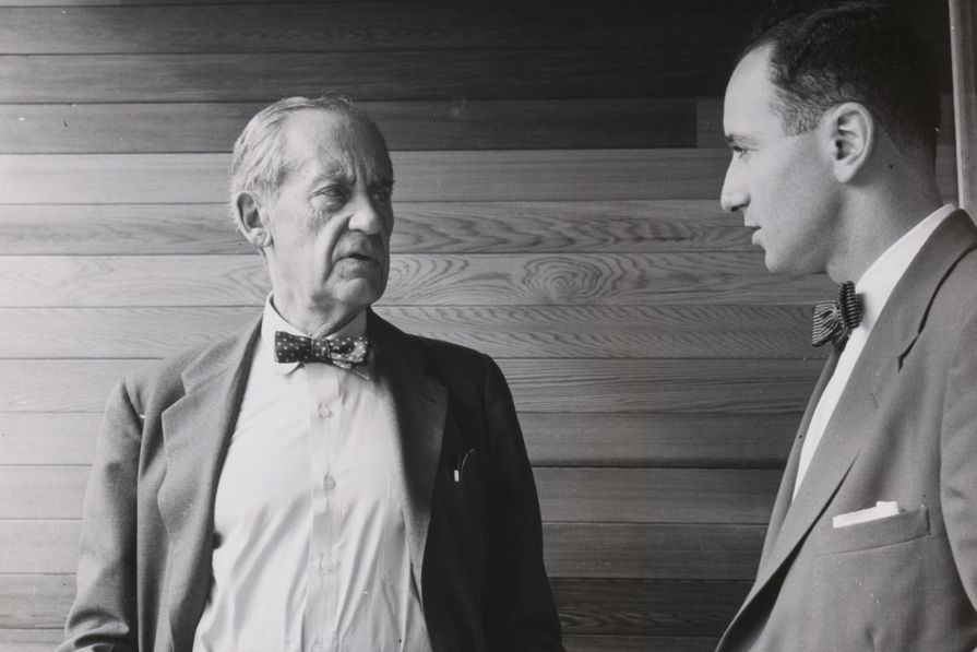 Walter Gropius and Harry Seidler, taken in 1954 at Seidler's under-construction Julian Rose House (Wahroonga NSW).