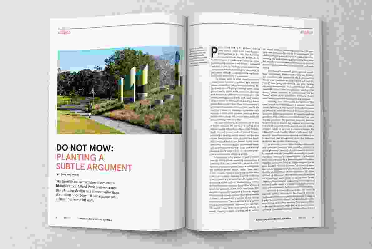 Spread from the May 2017 issue of Landscape Architecture Australia.