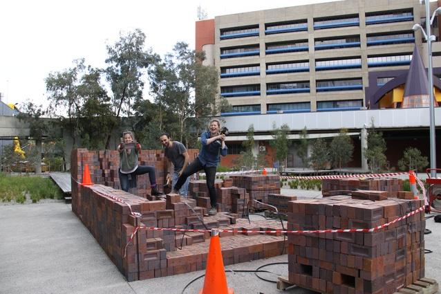 Monash Architecture students building the prototype.