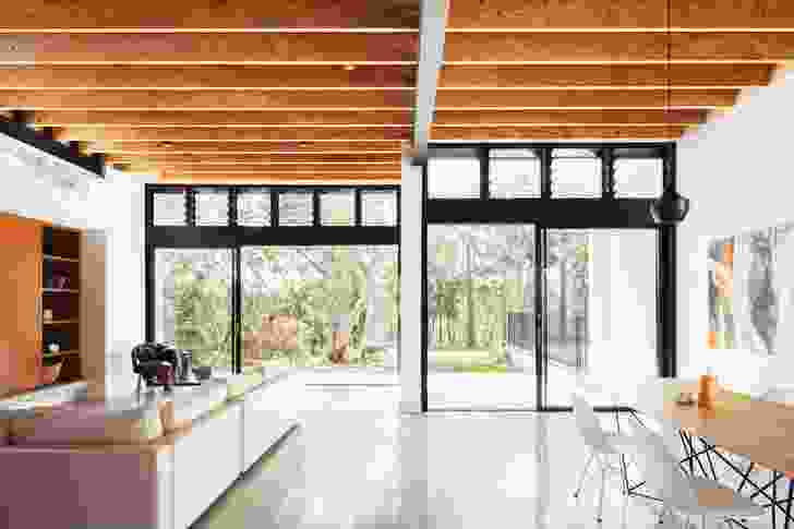 Banks of louvred windows maximize opportunities for cross-ventilation.