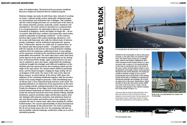 Spread from <em>In Touch,</em> showing the Tagus Cycle Track designed by Global Arquitectura Paisagista and P-06 Atelier.