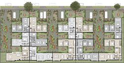 Second place entry by dKO Architecture. The development of streetscape and communal courtyards are integral to this proposal. Materiality and applied texture explore dwelling typologies.