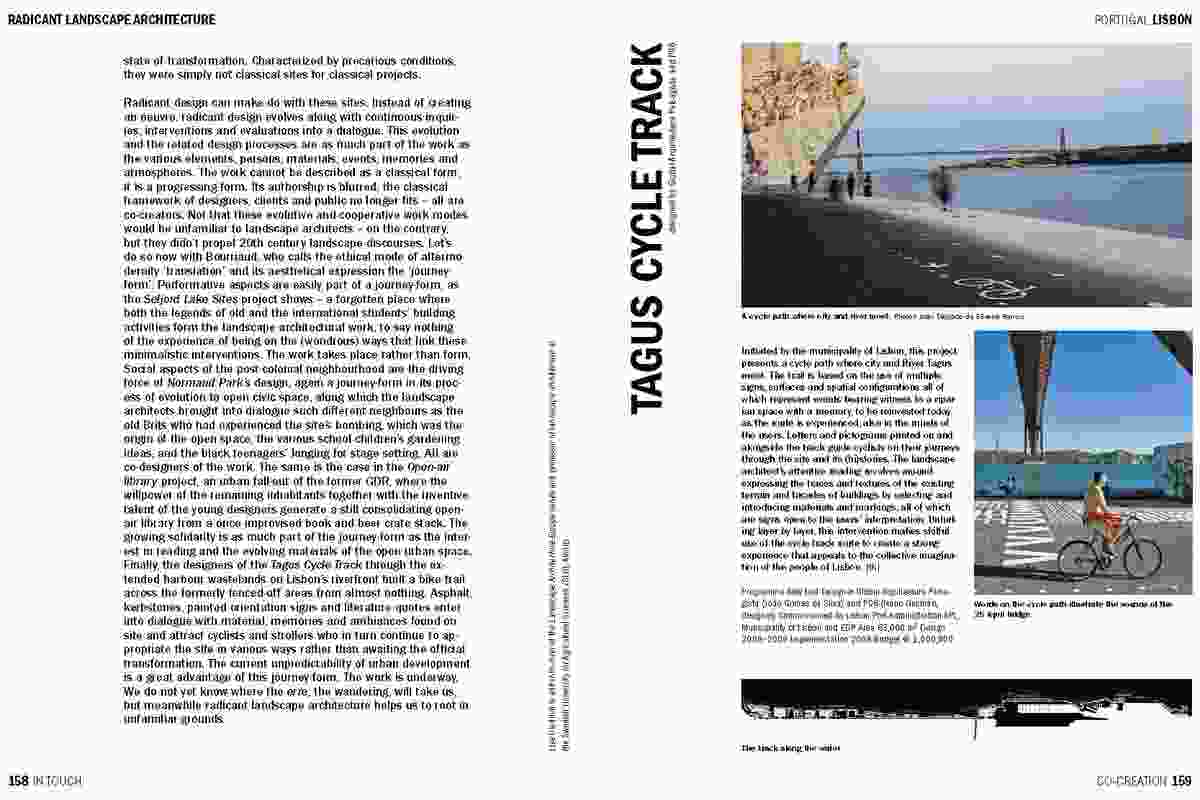 Spread from In Touch, showing the Tagus Cycle Track designed by Global Arquitectura Paisagista and P-06 Atelier.