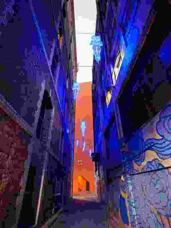 New site-specific lighting in Kimber Lane, Chinatown, Sydney.