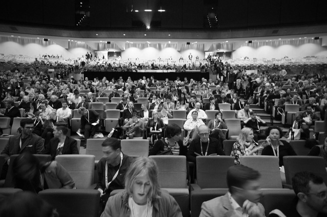 The lecture theatre fills on day one of the Material conference.