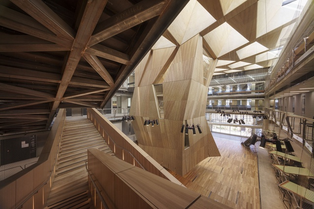 The structure is deliberately exposed so the building can be used as a teaching tool.