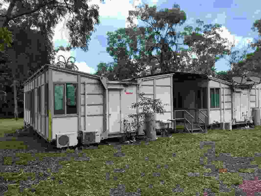 An abandoned housing prototype in Alyungula, East Arnhem Land. Designed to be erected within days, the modular and prefabricated house was deemed unsafe for human habitation within a matter of years.
