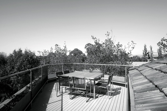 The roof deck, on top of the new structure, which houses the main bedroom.