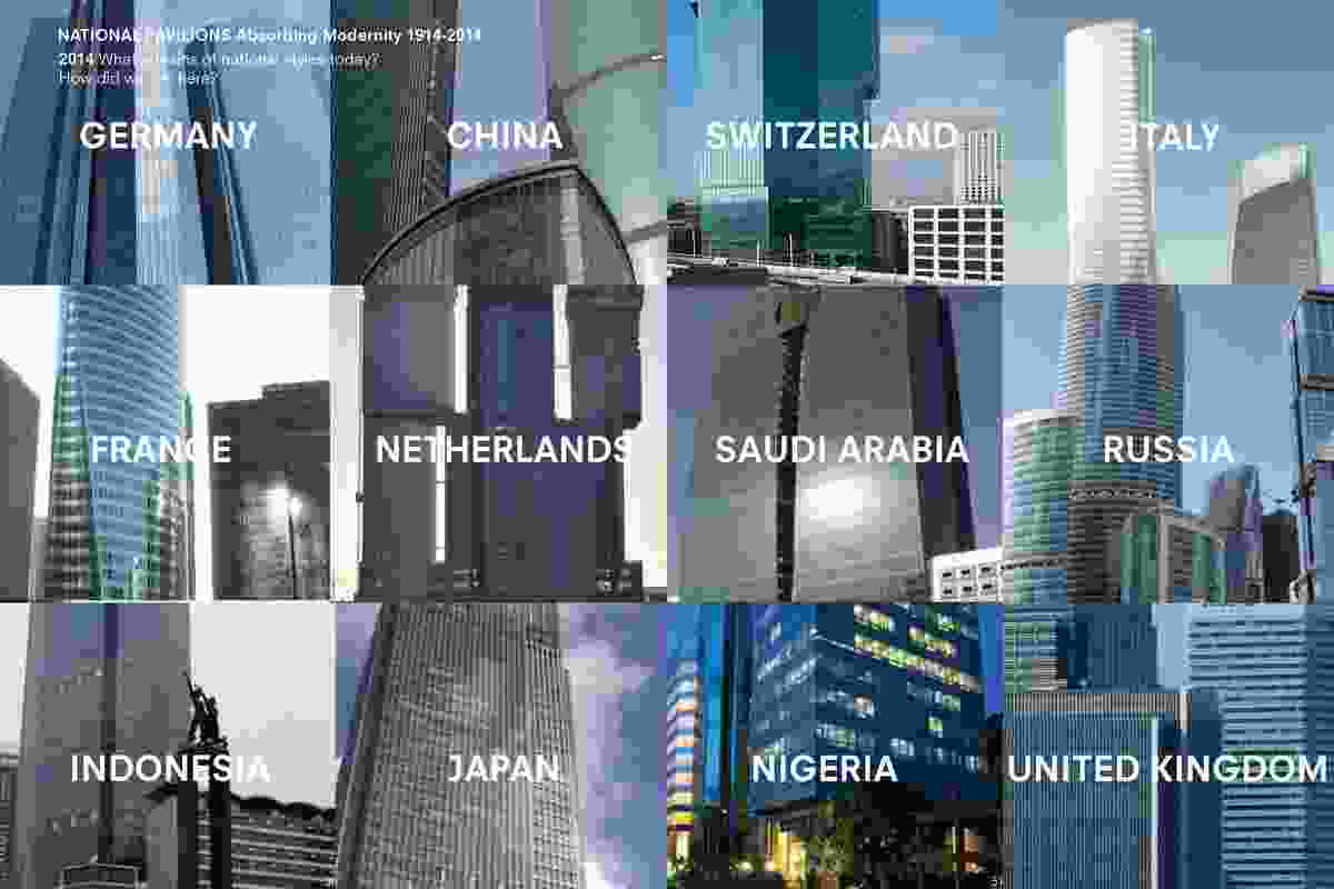 A montage by Koolhaas as Venice curator, illustrating the conformity of contemporary architecture worldwide, and the inherent loss of national identities and vernacular.