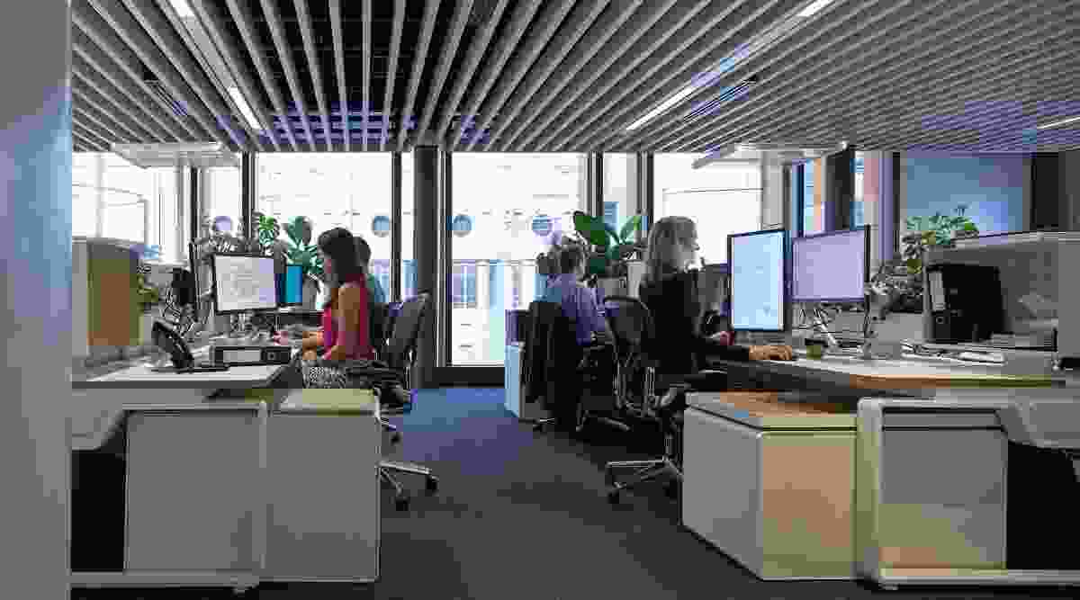 Egalitarian workstations minimize visual fuss and distraction.