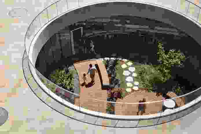 Locating the library underground maximizes  the space available for the public plaza and disrupts the traditional hierarchy of building and plaza.