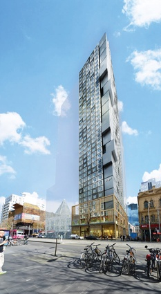 Render of 393 Swanston Street (2018), designed by Denton Corker Marshall to accommodate students in Melbourne's CBD. The forty-seven-storey building contains 754 apartments.