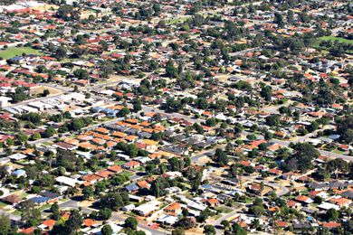 An Australian suburb from the air.