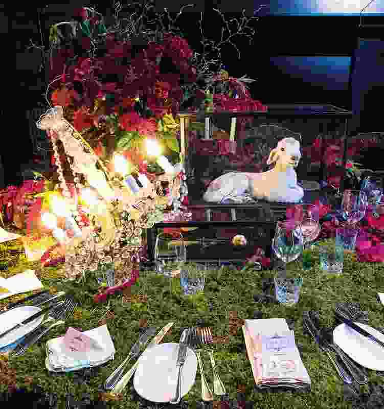 Artist Julia Deville's table encouraged diners to think about vegetarian practices.