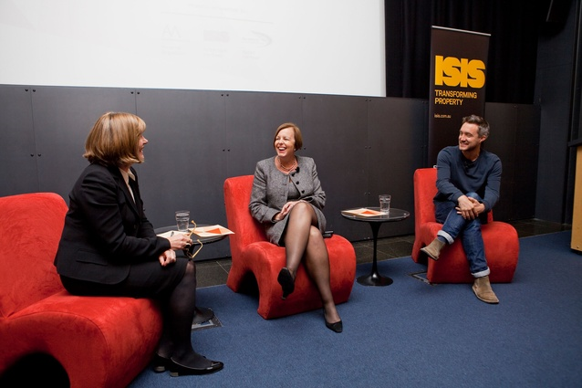 Design Speaks: Workplace/Worklife 2013 moderator Rosemary Kirkby (Rosemary Kirkby & Associates) with panellists Denice Scala (MLC School) and Oliver Marlow (Tilt) during the third panel discussion.
