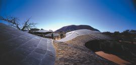 Aerial view of Gregory Burgess Architects' Uluru-Kata Tjuta Cultural Centre. Photograph John Gollings.