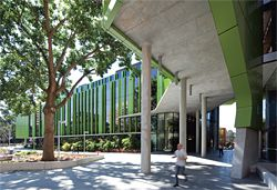 Oblique view of the south facade.