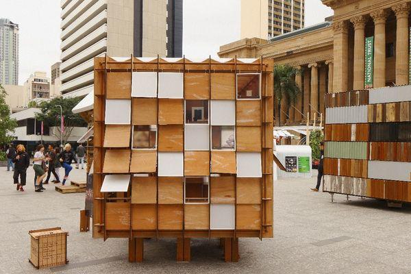 Conrad Gargett Riddel's building at Emergency Shelter Exhibition, Brisbane 2012.