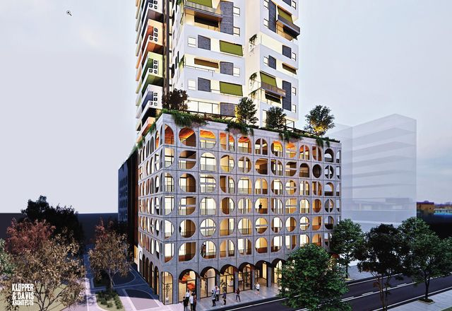 The proposed tower at Lot 52, 195 Pier Street, Perth, designed by Klopper and Davis Architects.