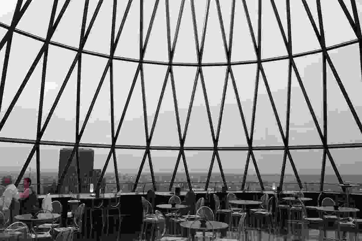 Inside 30 St Mary's Axe, or the Gherkin, by Foster and Partners.