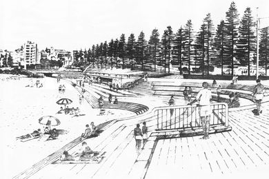 Artist Barry Mitchell's rendering of the proposed Coogee Beach amphitheatre and the background of the new planned environment, 1980s.  The project was completed in 1993.