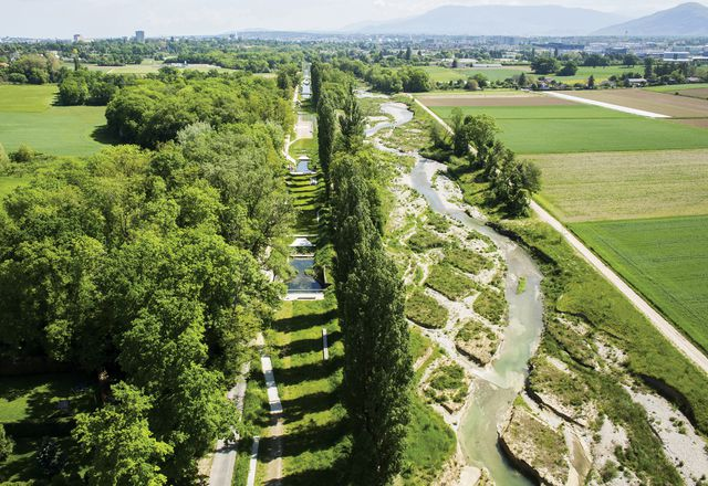 Twin rivers: the renaturalized Aire river in Switzerland runs alongside the existing canal, which has been transformed into a series of linear gardens.