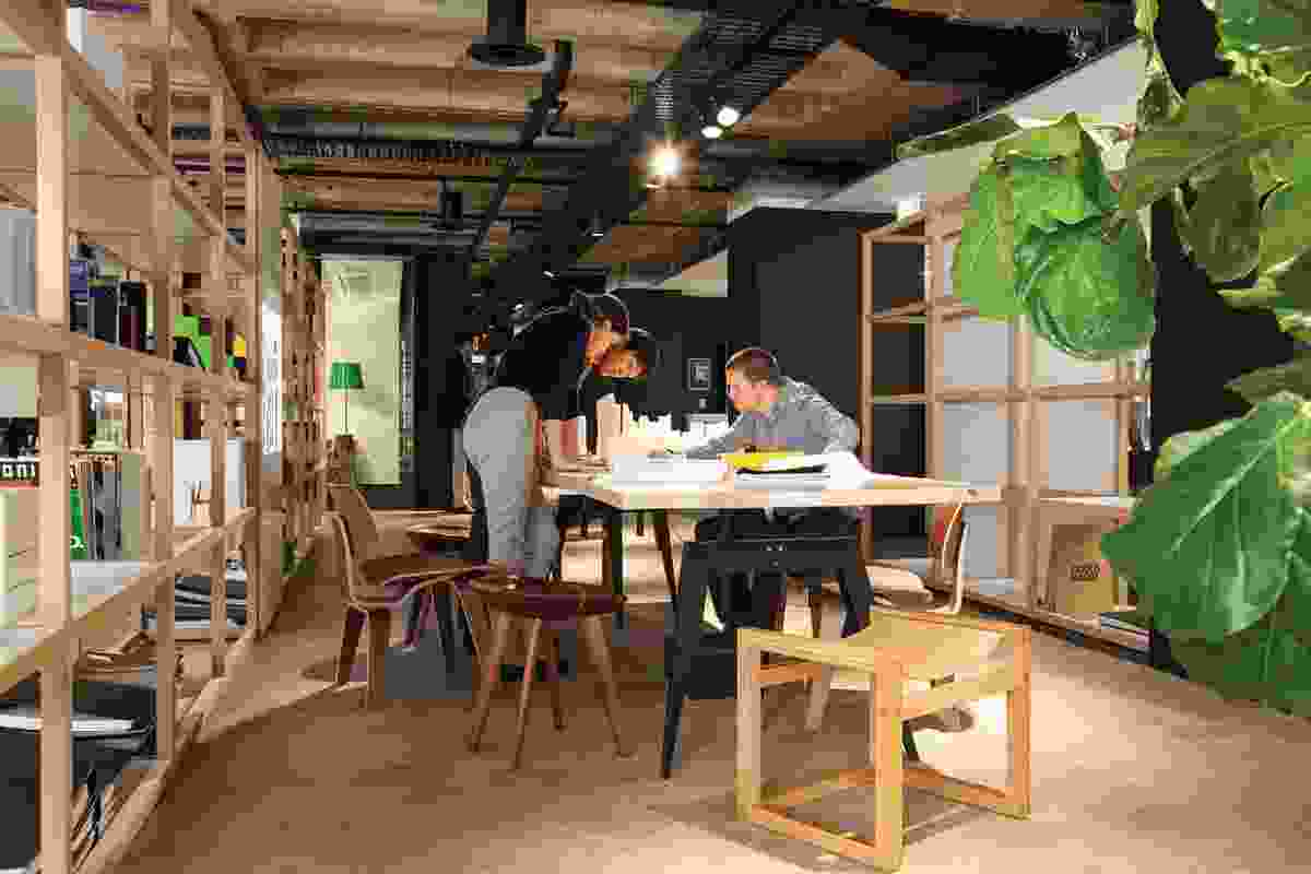 """Meeting and work spaces are open to encourage """"instant immersion."""""""