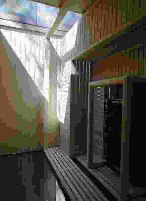 Interior of the separate sauna building.
