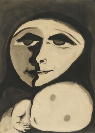 Joy Hester, Mother and Child 1955, brush and ink on paper, 75.4 x 55 cm, National Gallery of Australia, Purchased 1976.