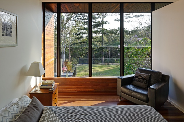 The main bedroom on the upper floor has direct view to the landscape.
