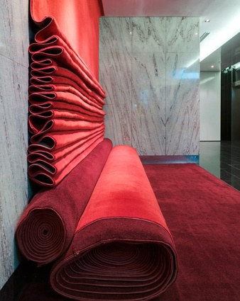 Carpet Couch by Phooey Architects in Melbourne: reusing surplus carpet is part of their 'zero waste' mission.