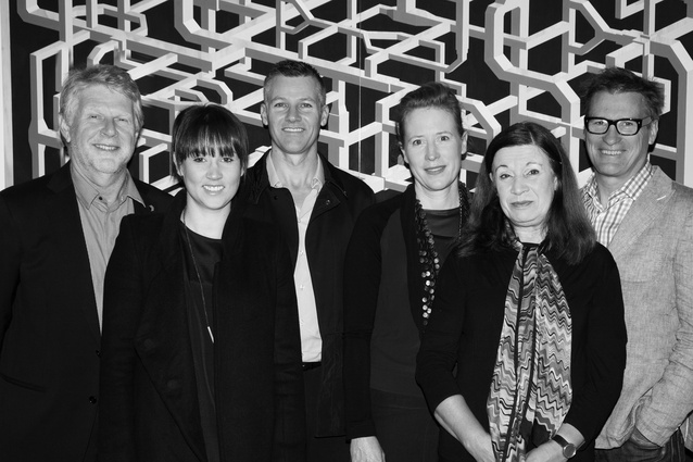 2014 Houses Awards jury (L–R): Peter Willams (architectural advice for the House in a Heritage Context category), Katelin Butler, William Smart, Emma Williamson, Maggie Edmond, Brian Donovan.