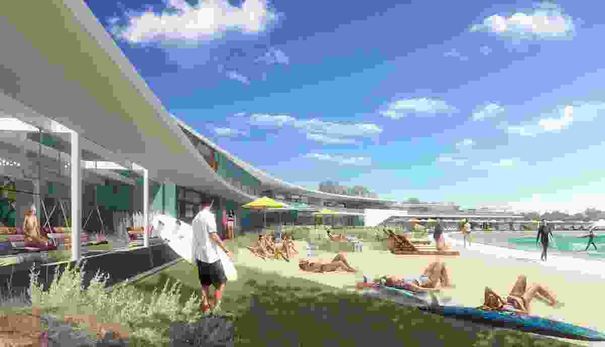 The proposal for Urbnsurf Perth by MJA Studio and Wave Park Group features a 2.4 hectare lagoon and a range of club facilities.