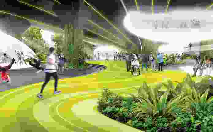 04 Shma's masterplan for the 10 Kilometres project connected communities on both sides of the expressway with an extensive linear sports and recreational park.