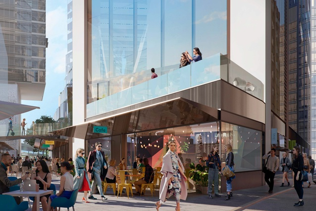 The proposed Circular Quay tower designed by Foster and Partners will have retail shopfronts at the ground level to activate the streets and laneways.