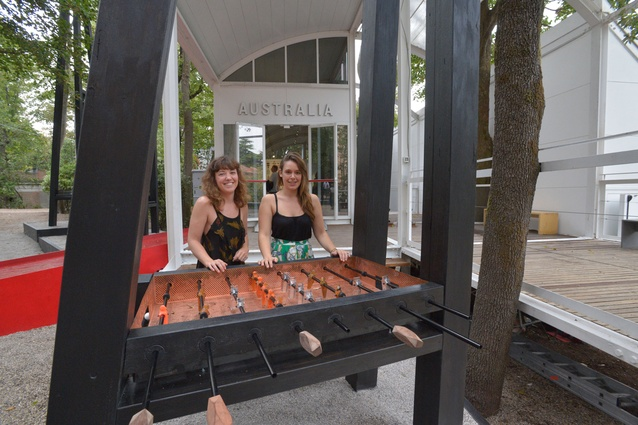 Archrival team Claire McCaughan (left) and Lucy Humphrey at their <em>Arena Calcetto</em> installation at the 2012 Venice Architecture Biennale.