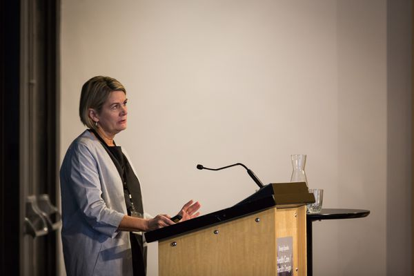 Ann-Maree Ruffles (ThomsonAdsett) speaks at the 2018 Health Care/Health Design conference.