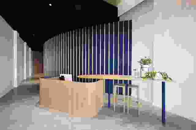 在入口处,一件定制的细木工制品占据了中心位置。弯曲的墙壁引导客人进入健身房,五个治疗室隐藏在后面。