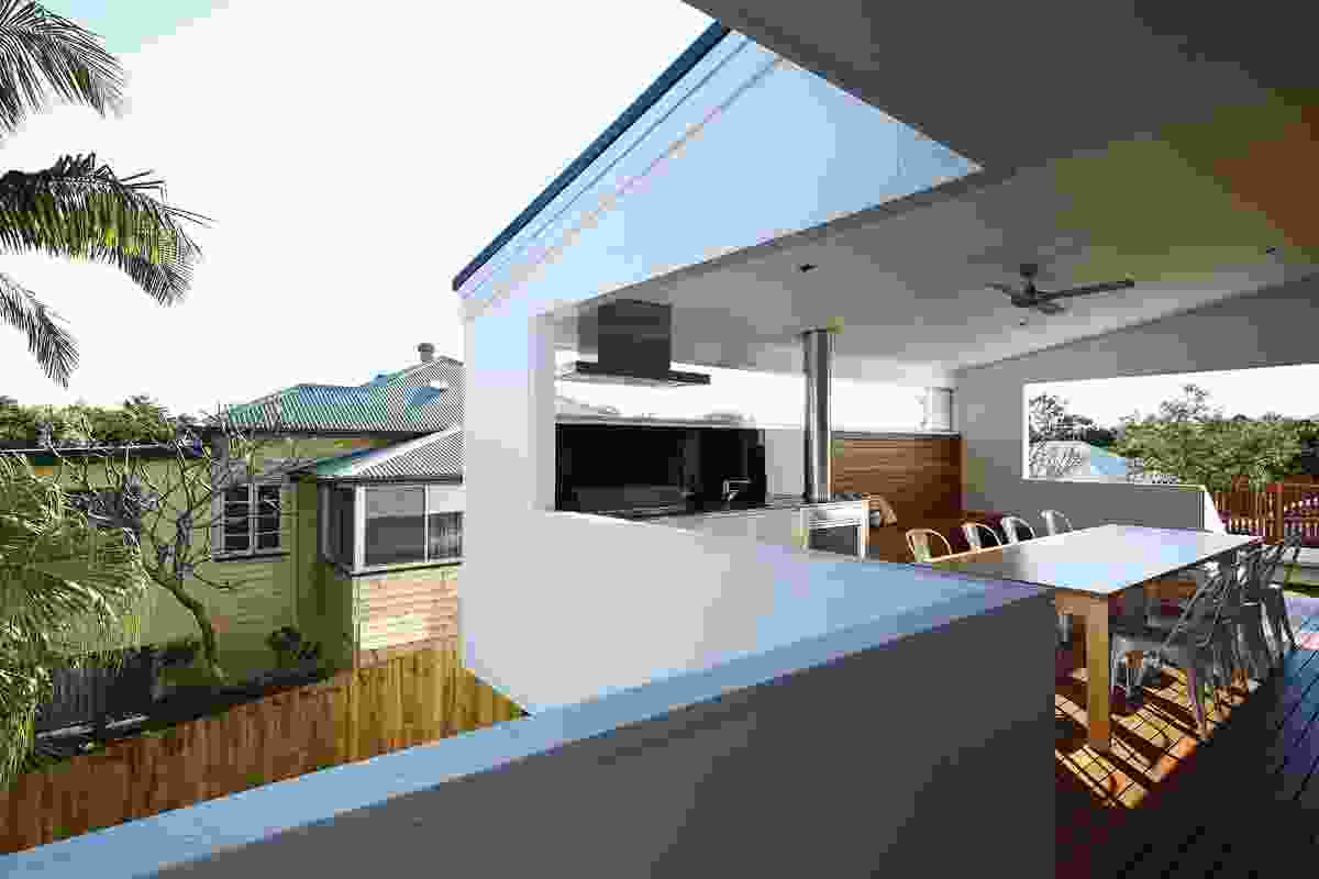 Solid balustrades edit the views into neighbours' backyards.