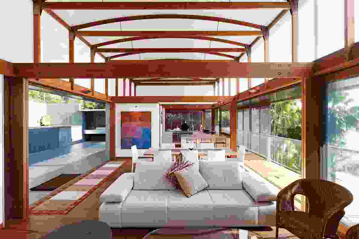 The living areas are lit by a polycarbonate vault.