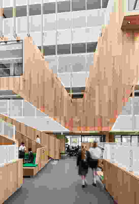A vertical layout, as at Adelaide Botanic High School, provides opportunities for collaboration and connection that are not available in traditional low-rise school buildings.